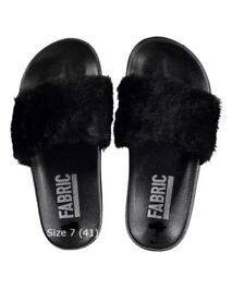 Fur Sliders by Fabric size 7 (41) Black NEW with Tags and boxed