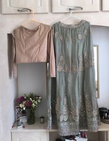 Mint and champagne gold skirt and top