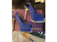 Ladies blue suede and silver stiletto heels size 5