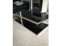 BLACK GLASS COFFEE TABLE & SIDE TABLE