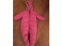 Joules Pink Quilted Snowsuit 9-12 months