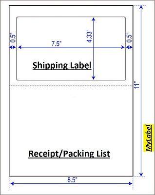 500 Half Sheet Shipping Label W Receipt