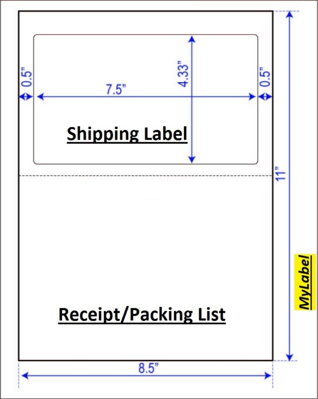 800 Half Sheet  Shipping Label  w/ receipt