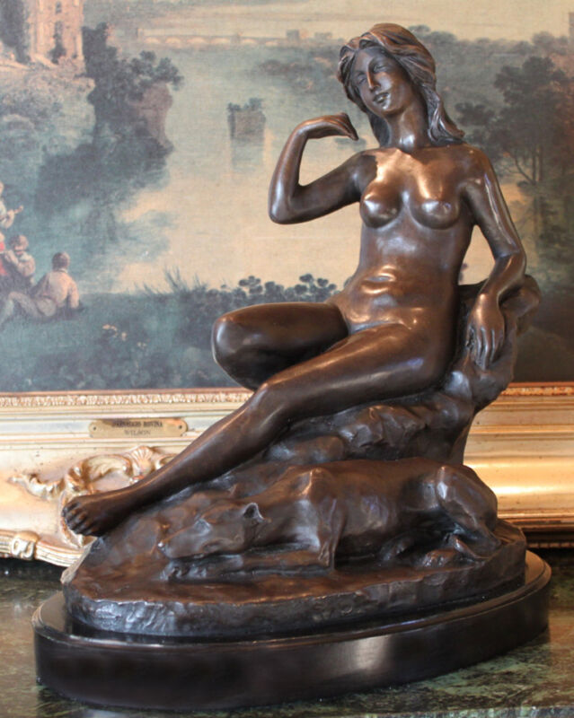 Nude Woman Female Greyhound Dog Signed Bronze Marble Statue Sculpture Art Gift