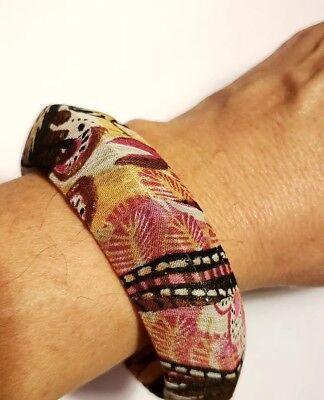(Pink Brown Wide Vintage Estate Solid Fabric Covered Plastic Cuff Leaves Bracelet)