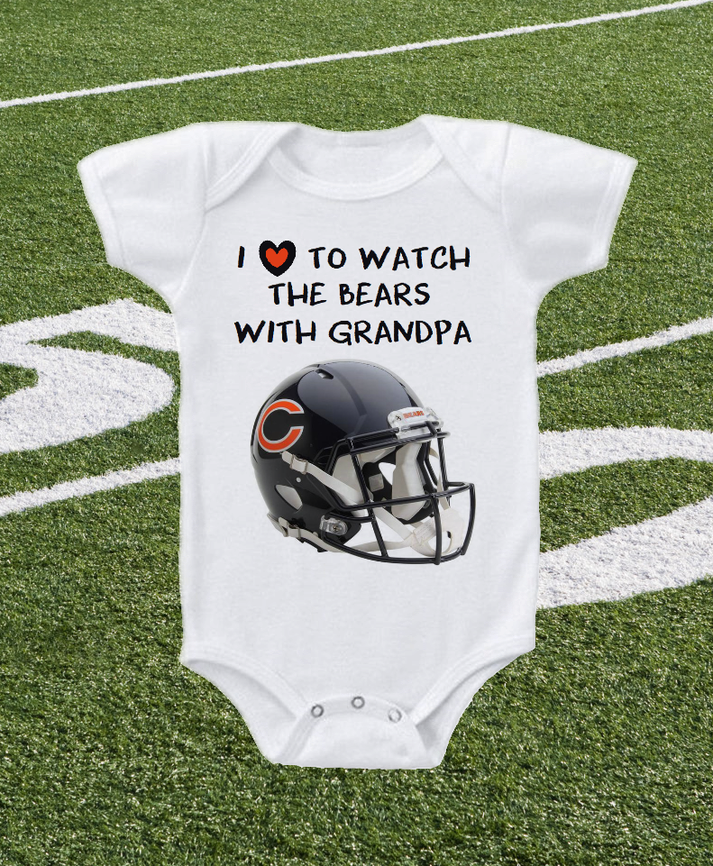 Chicago Bears Onesie Love To Watch With Grandpa Shirt