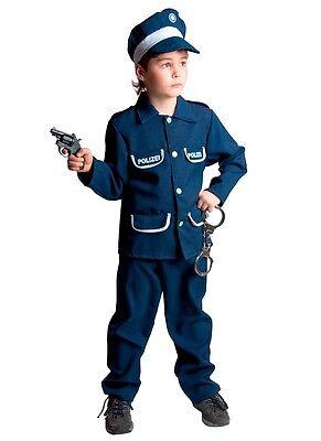 Polizist Kostüm Kinder Polizeianzug mit Mütze Polizeiuniform Polizei NEU