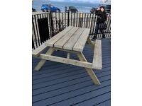 Picnic Bench, 1.5m/5ft, Handmade, Heavy Duty Isle of Mull, Pub Style