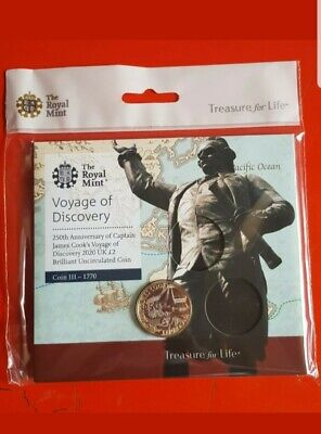 2020 Captain James Cook £2 Two Pound Coin in Original Royal Mint BUNC Pack