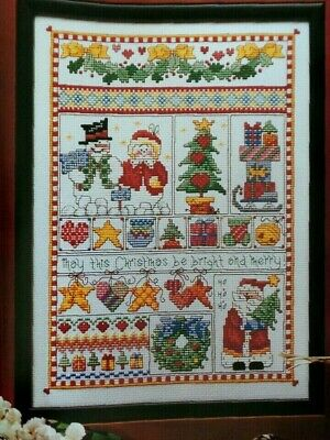 Cross Stitch Christmas SAMPLER Santa Snowman Tree Bell Star Gifts Robin Kingsley