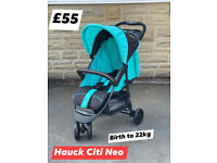 NEW HAUCK CITI COMPACT AND LIGHTWEIGHT PRAM PUSHCHAIR FROM BIRTH TO 3 YEARS ONLY £55