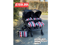 EXDISPLAY HAUCK RAPID 3R DUO SIDE BY SIDE TWIN DOUBLE PUSHCHAIR PRAM GREY BIRTH TO 30KG