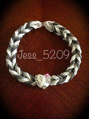 WHITE Lung, Mesothelioma, Cancer Awareness Ribbon Loom Glow Stretch Bracelet  - White Glow Bracelets