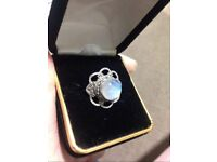 Beautiful Silver stamped rainbow moonstone crystal ring size O small ring