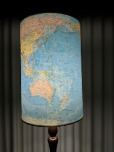 Vintage World Map lampshade   antique timber lamp stand Highton Geelong City Preview