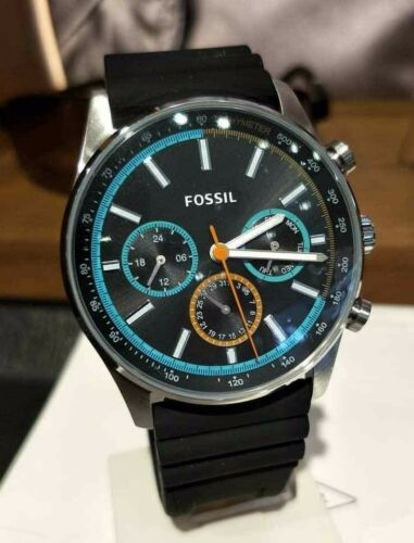NIB Fossil Sullivan Multifunction Black Silicone Watch BQ2445