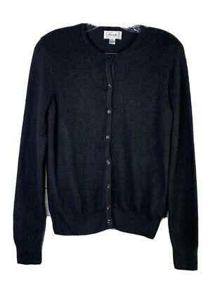 Foxcroft Womens Gray Cotton Cashmere Blend Knit Cardigan Sweater Size -