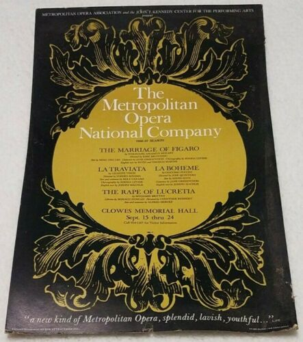 "Vintage Metropolitan Opera 1966-1967 season Clowes Hall 22""x14"" window card"