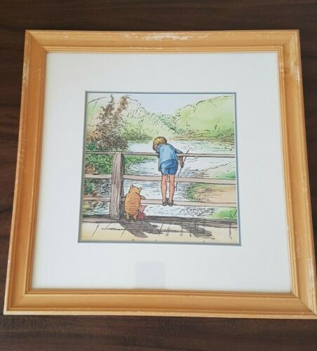 Disney Winnie The Pooh Christopher Robin Classic Piglet Framed Picture Art Rare