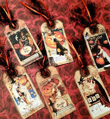 6 Happy Halloween~Gift Hang Tags~Scrapbooking~Card Craft Making Embellishments  - Make Halloween Gift Tags