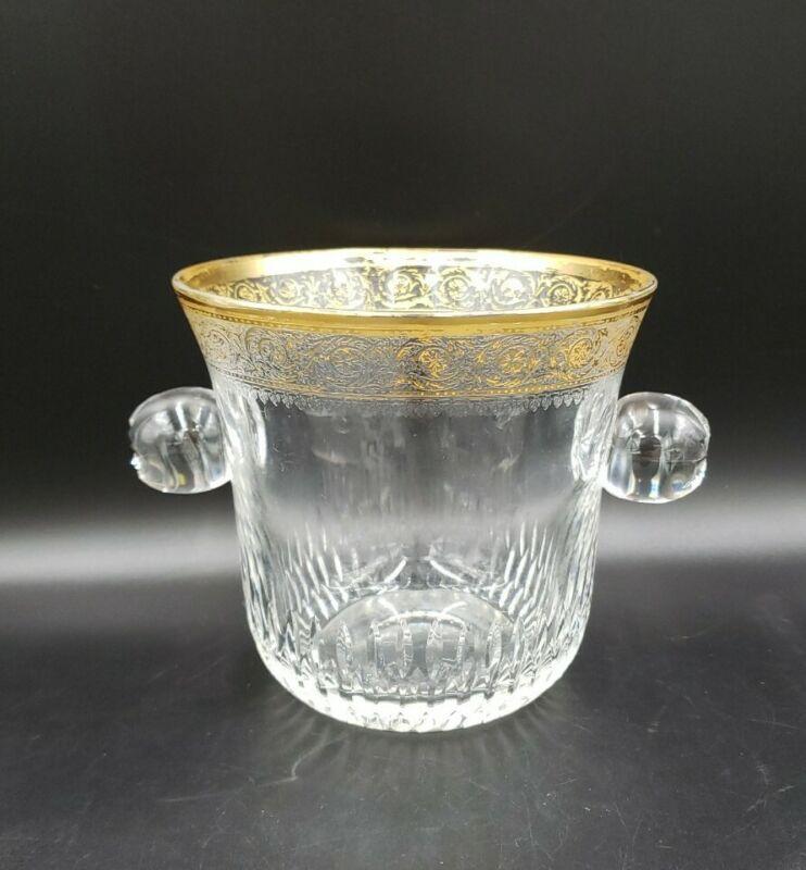 St Louis Crystal THISTLE Ice Bucket VGC GOLD WEAR