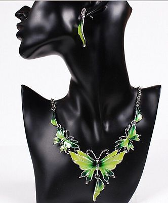 Fashion Pendant Jewelry Butterfly Crystal Statement Bib Necklace Earrings Set