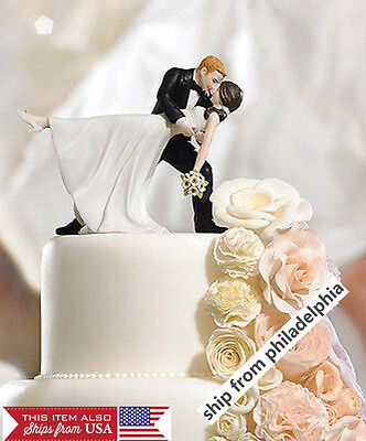 Bride Cake Topper - Romantic Bride and Groom Wedding Couple Figurine Dancing Dip Hug Cake Topper