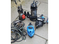 4 Clarkes and 1 Tsurumi Pumps Spares or Repair