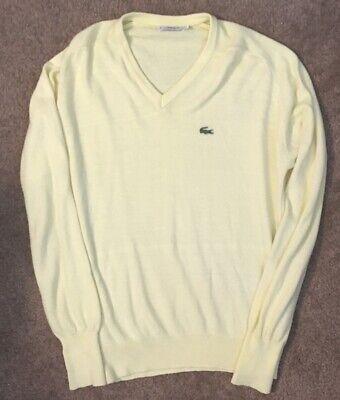 Vintage Izod Lacoste Mens Yellow V-Neck Long Sleeve Orlon Acrylic Sweater XL