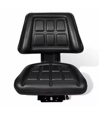 New Black Tractor Seat Universal W Backrest Slide Track Steel Compact Mower