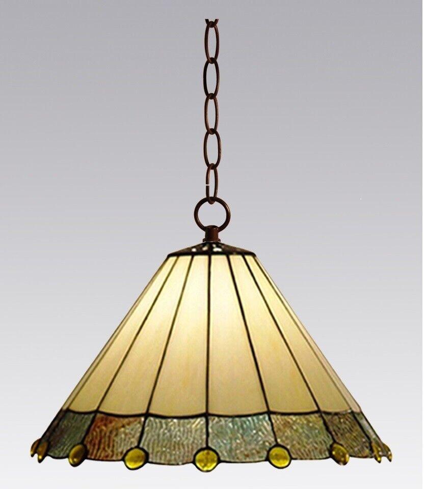 Tiffany Lampe, Deckenlampe, creme weiss, Rand grau mit gelben Perlen, neu D22