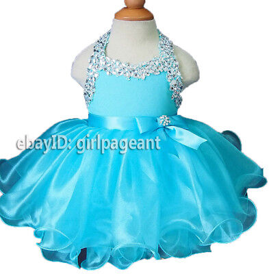 Infant/toddler/baby Blue Crystals Halter Bow Pageant Dress G079 - Blue Baby Blue