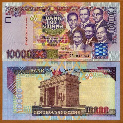Ghana / Africa, 10000 (10,000) Cedis, 2002 P-35 (35a), UNC > First Date