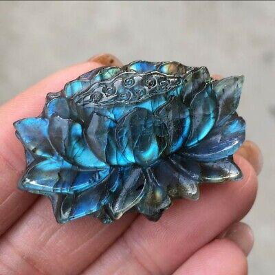 Natural Labradorite Hand Carved The lotusQuartz Crystal Healing 1pc