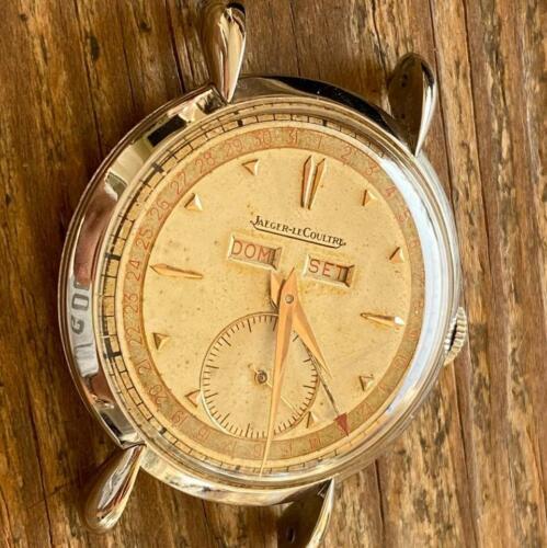 JAEGER LECOULTRE TRIPLE DATE ART DECO CASE VINTAGE WATCH 100% GENUINE BOX 36 MM - watch picture 1