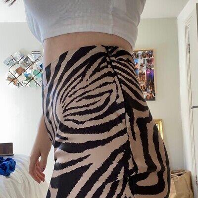 John Zack high-low satin tiger print skirt in size 10