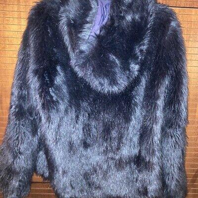 """Eco-pelliccia blu DonDup in ottimo stato, taglia 40. Ha anche """"contenitore"""" tela"""