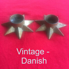 2 vintage Denmark star candle holders, gold coloured metal. £2 both. Happy to post.