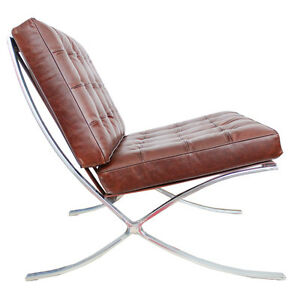 Barcelona Chair In Chestnut Vintage Brown Semi-Aniline Leather Mies Van Der Rohe