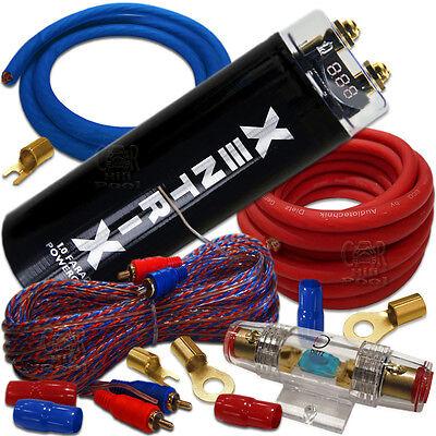 POWER SET 1F Kondensator Powercap Car Hifi & 20mm² Kabelset Kabel Kit