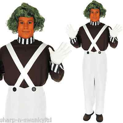 Mens Oompa Loompa Book Day Week 1960s Fancy Dress Costume Outfit WITH WIG! S-XL ()
