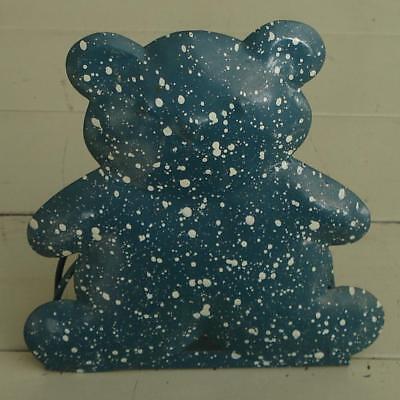 Cute Tin Teddy Bear Note Padpen Desktop Holder Bluewhite Speckles Vg Cnd