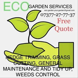 ECO garden services, hedge trimming, power washing, paving
