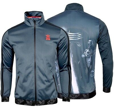 Star Wars Kinder Kleidung (Adidas STAR WARS Kinder Trainingsjacke Film Jacke Firebird Jacket blau/schwarz)