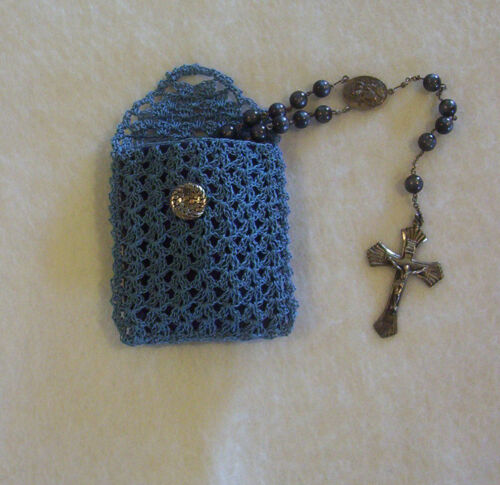 Crochet Blue with Navy Blue Lining Buttoned Rosary Jewelry Pouch Case