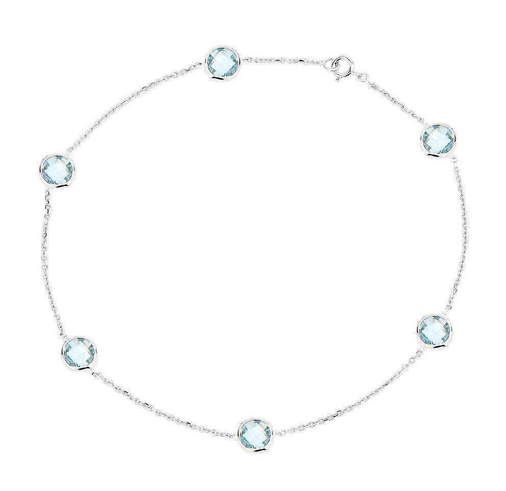 14K White Gold Anklet Bracelet With Blue Topaz Gemstones 9.5 Inches