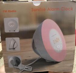 Wake Up Light Alarm Clock Digital LED 6 Color Switch Radio Sunrise Natural 2nd e