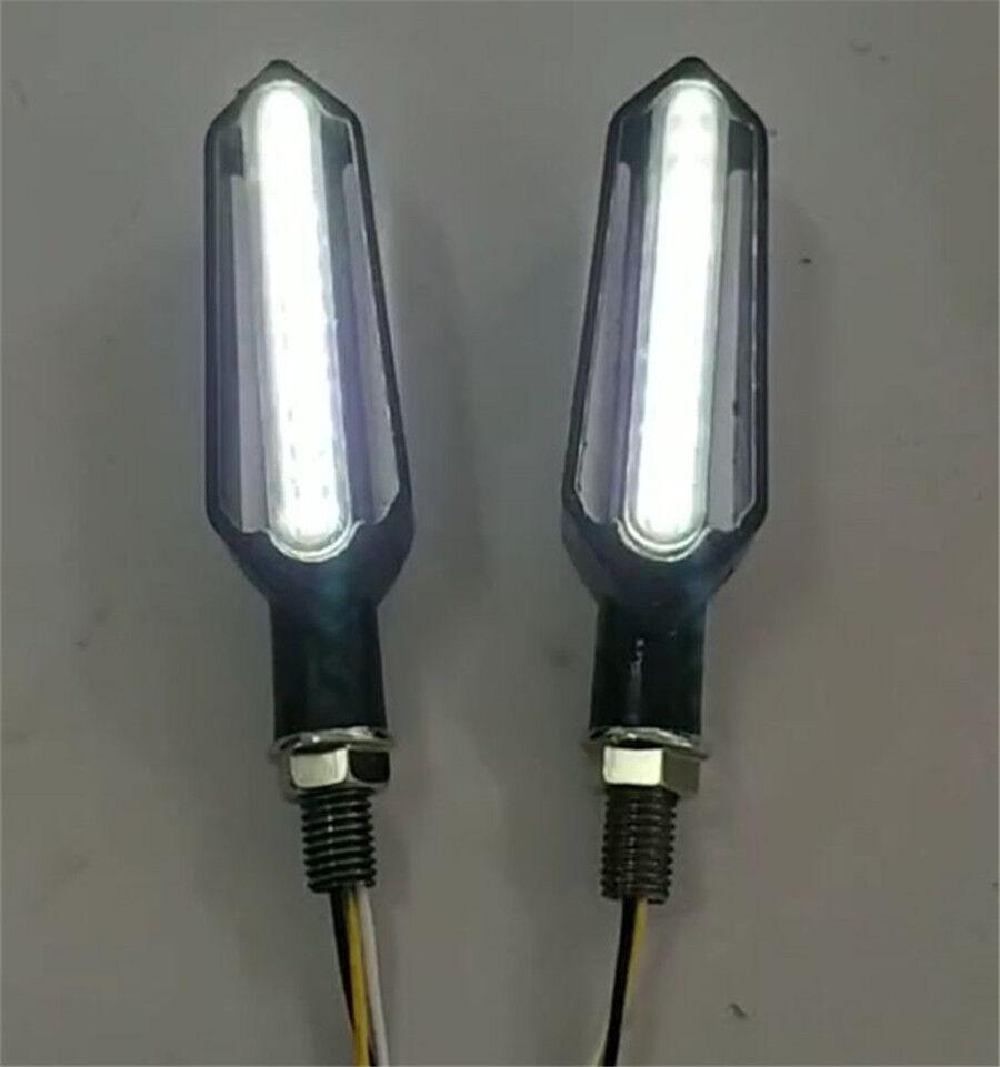 2pcs White Amber 24 LED DRL Flowing Turn Signal Indicator Lights Lamp
