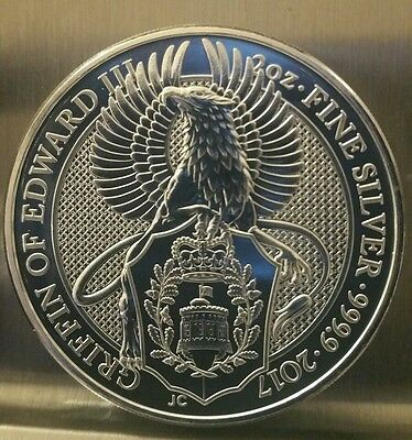 2017 Queens Beast The Griffin Of Edward 2 Oz  9999 Silver Coin 5 Pound Brexit