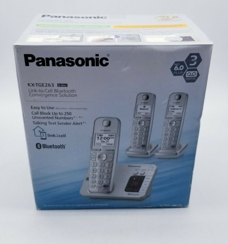 Panasonic Link to Cell Bluetooth KX-TGE263S, 2 Handsets Missing Main Base- New